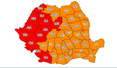 ROMÂNIA FIERBE: COD PORTOCALIU ŞI COD ROŞU DE CANICULĂ
