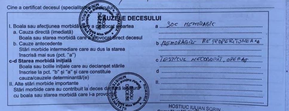 ȘTEFĂNUȚ A MURIT DIN CAUZA INCOMPETENȚEI MEDICILOR! CAUZA DECESULUI: ȘOC HEMORAGIC!