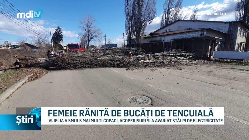 FEMEIE RĂNITĂ DE BUCĂȚI DE TENCUIALĂ