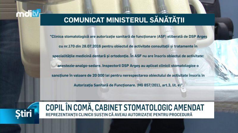 COPIL ÎN COMĂ, CABINET STOMATOLOGIC AMENDAT