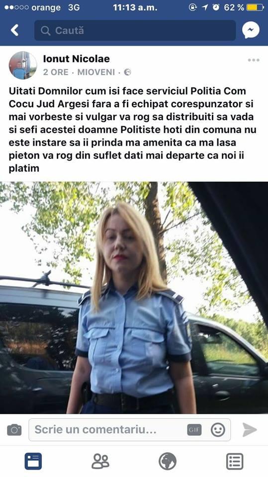 POLIȚISTĂ AMENINȚATĂ CU MOARTEA