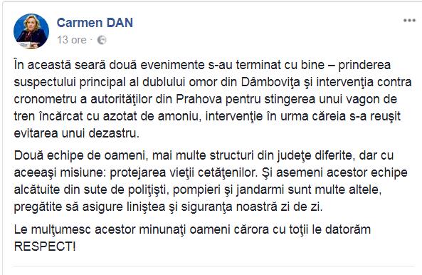 PRIMA REACȚIE A MINISTRULUI CARMEN DAN, DUPĂ PRINDEREA AUTORULUI DUBLEI CRIME DE LA TÂRGOVIȘTE
