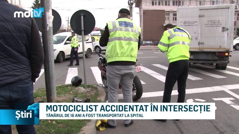 MOTOCICLIST ACCIDENTAT ÎN INTERSECȚIE