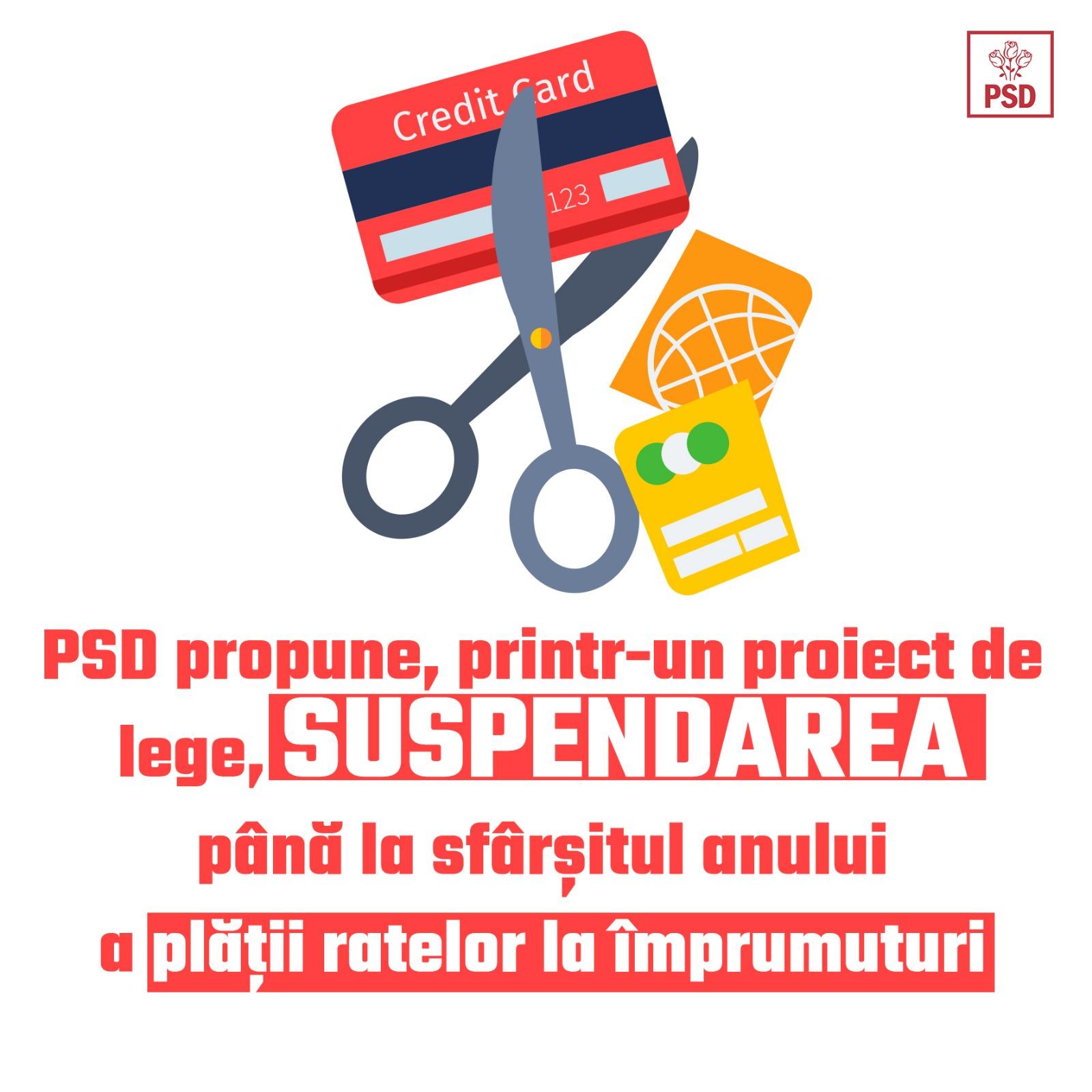 PSD CERE SUSPENDAREA PLĂȚII RATELOR PÂNĂ LA SFÂRȘITUL ANULUI