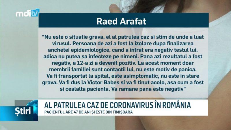 AL PATRULEA CAZ DE CORONAVIRUS ÎN ROMÂNIA