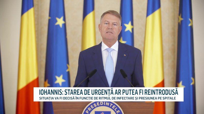 IOHANNIS: STAREA DE URGENȚĂ AR PUTEA FI REINTRODUSĂ