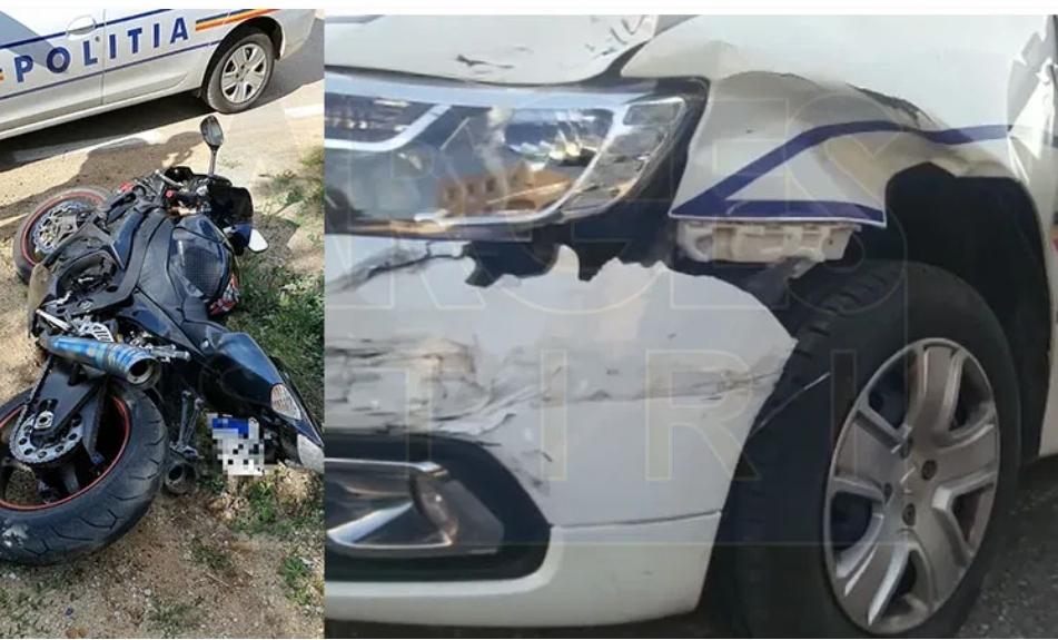 MOTOCICLIST CU PERMISUL SUSPENDAT, CURSĂ NEBUNĂ CU POLIȚIA PE URMĂ! TÂNĂRUL A INTRAT CU MOTORUL ÎN MAȘINA POLIȚIȘTILOR