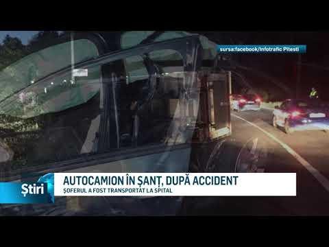 AUTOCAMION ÎN ȘANȚ, DUPĂ ACCIDENT